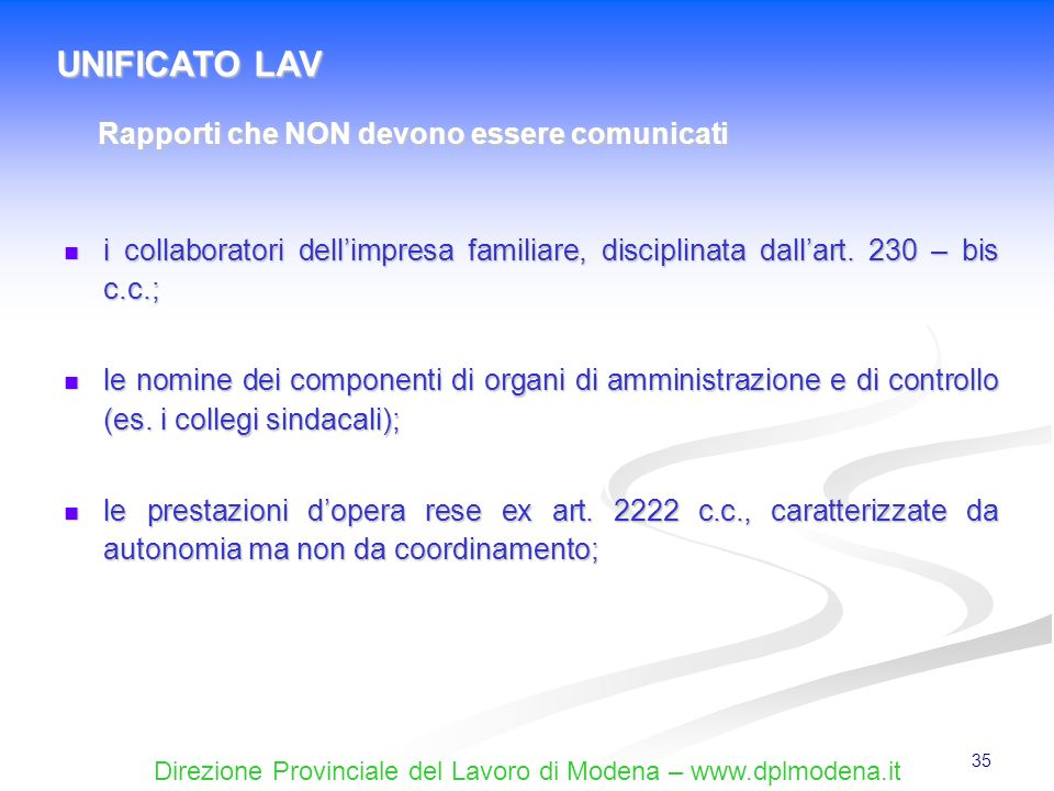 UNIFICATO LAV Rapporti che NON devono essere comunicati