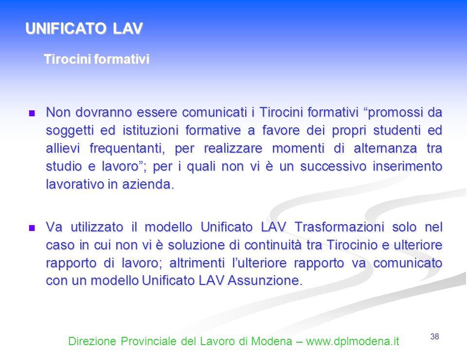 UNIFICATO LAV Tirocini formativi.