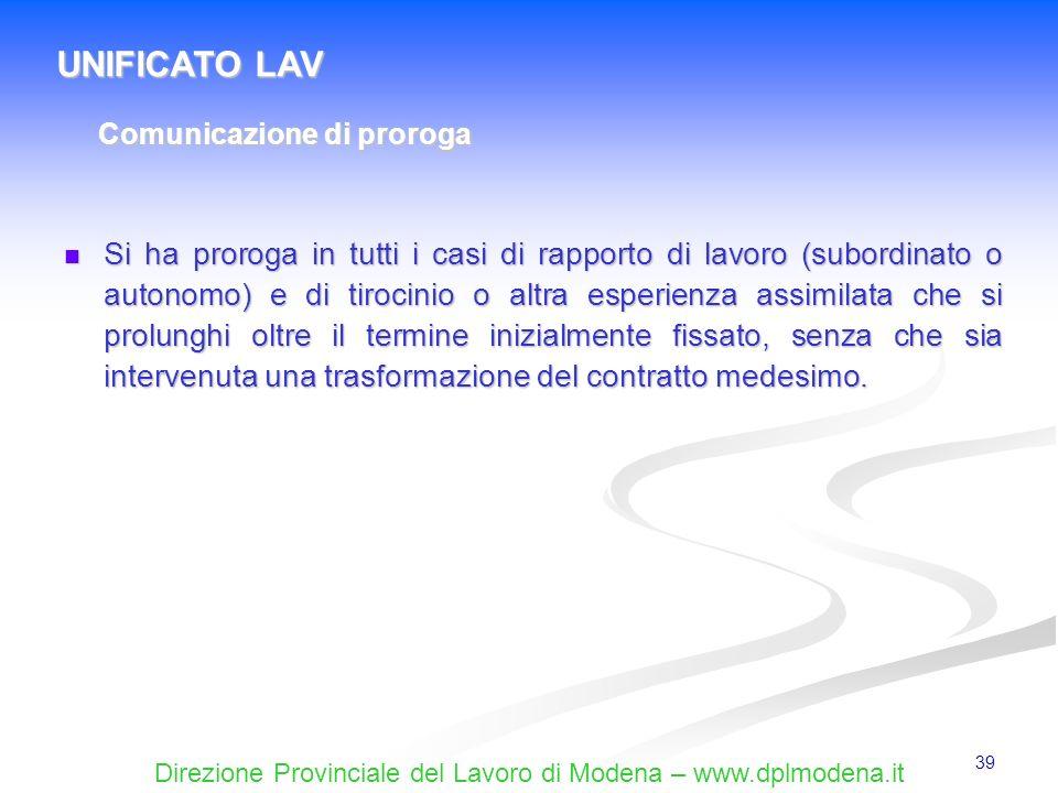 UNIFICATO LAV Comunicazione di proroga.