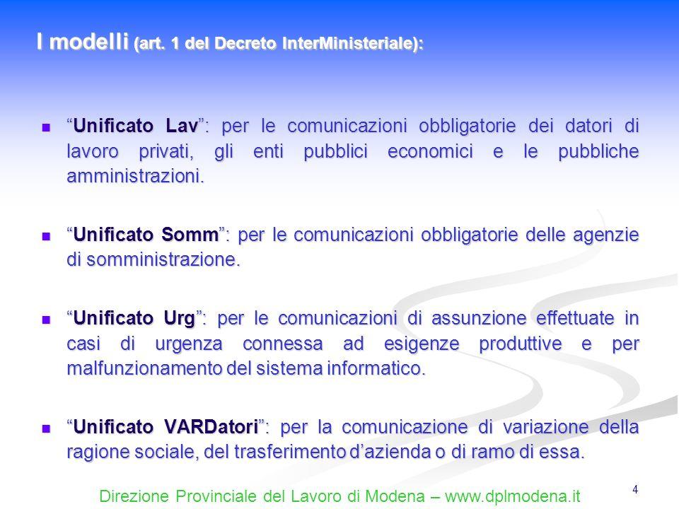 I modelli (art. 1 del Decreto InterMinisteriale):