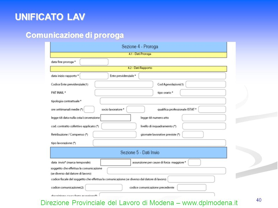 UNIFICATO LAV Comunicazione di proroga