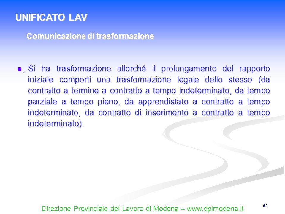UNIFICATO LAV Comunicazione di trasformazione.