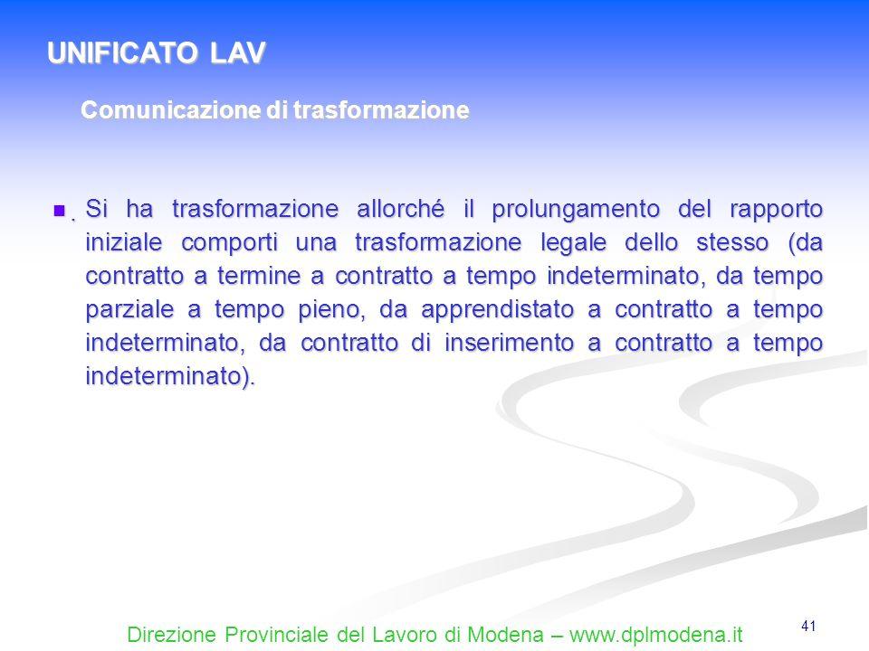 UNIFICATO LAVComunicazione di trasformazione.