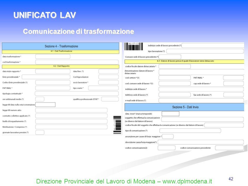 UNIFICATO LAV Comunicazione di trasformazione