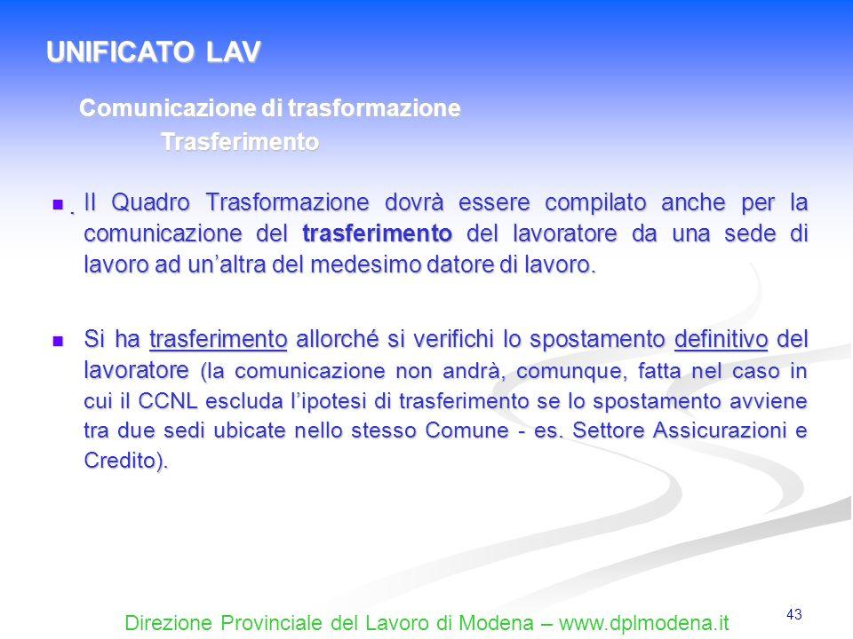 UNIFICATO LAV Comunicazione di trasformazione Trasferimento
