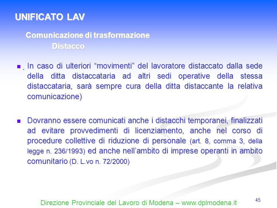 UNIFICATO LAV Comunicazione di trasformazione Distacco