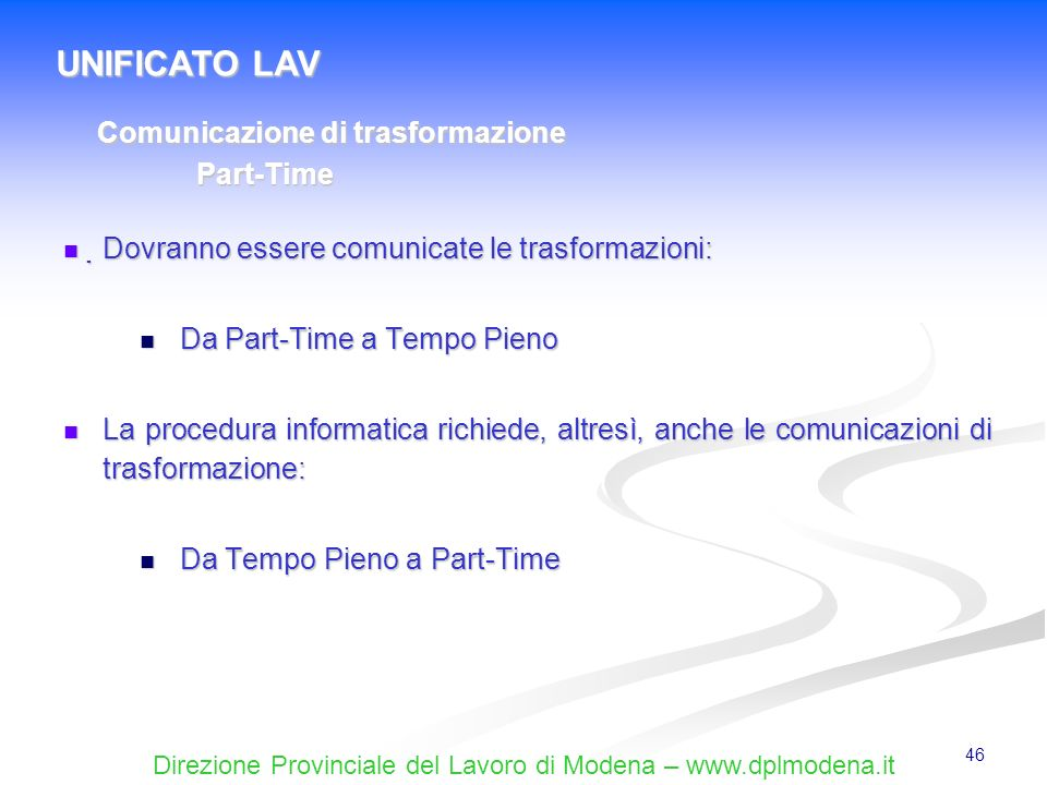 UNIFICATO LAV Comunicazione di trasformazione Part-Time