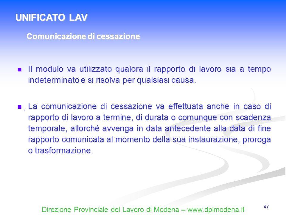 UNIFICATO LAV Comunicazione di cessazione.