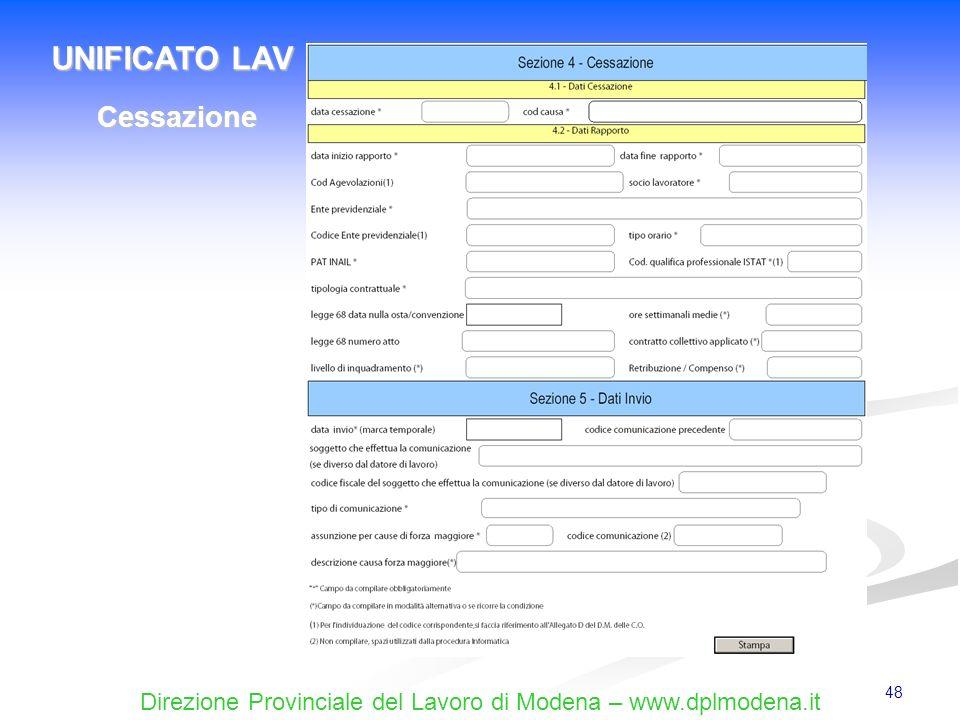 UNIFICATO LAV Cessazione