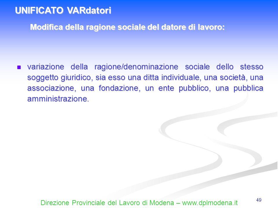 UNIFICATO VARdatori Modifica della ragione sociale del datore di lavoro: