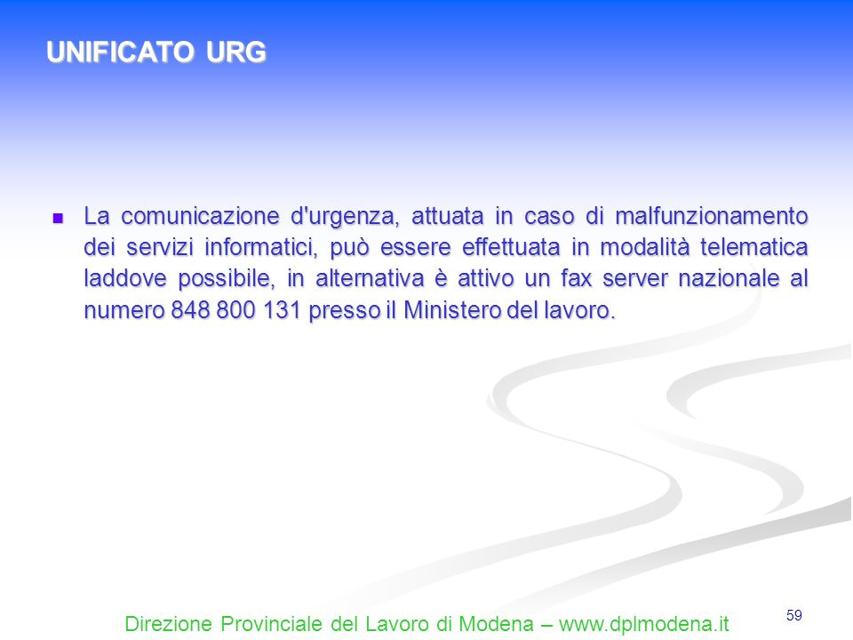 UNIFICATO URG