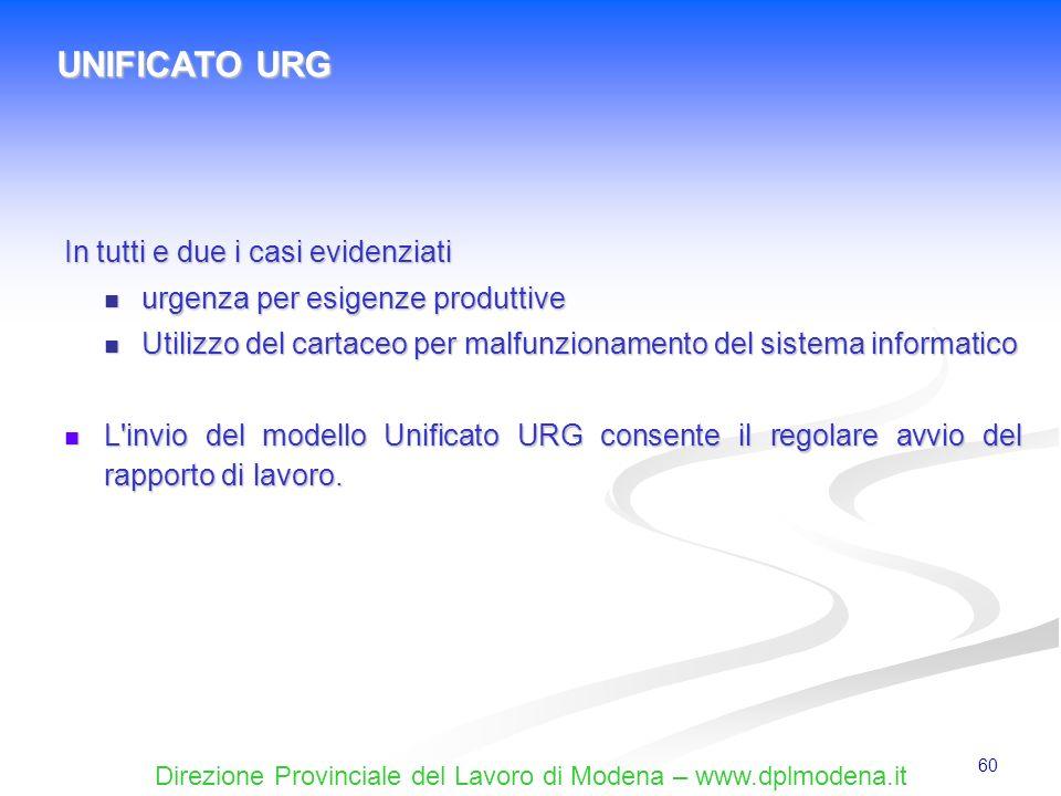 UNIFICATO URG In tutti e due i casi evidenziati