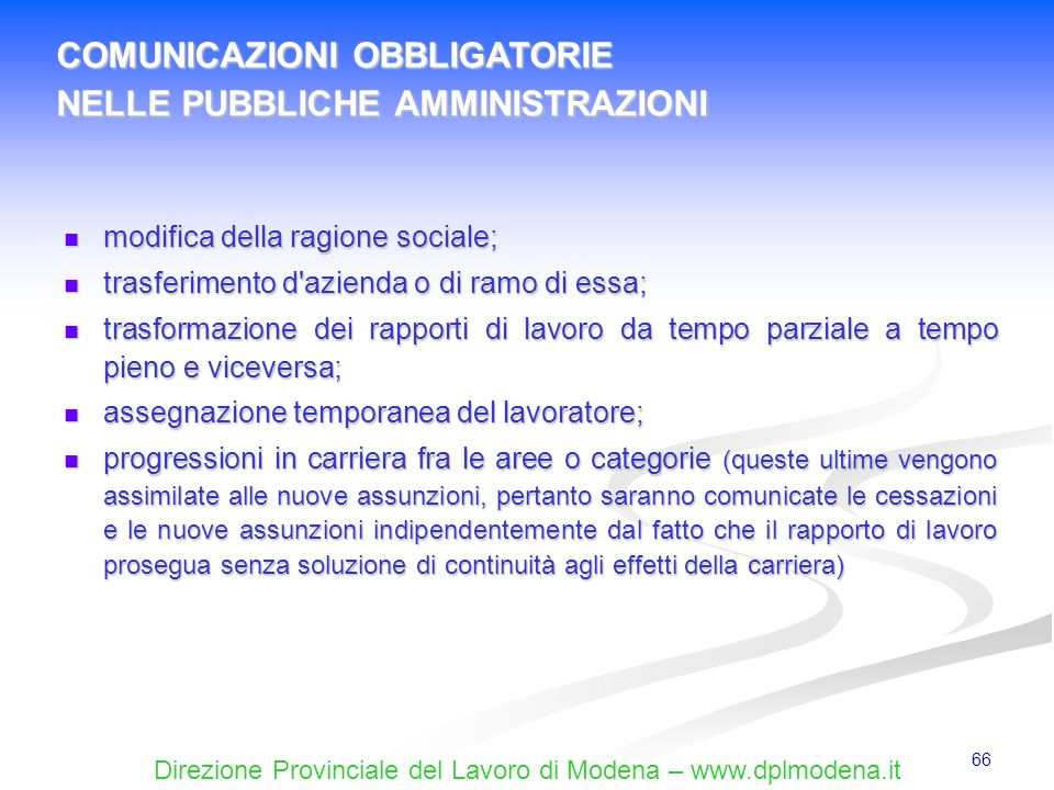 COMUNICAZIONI OBBLIGATORIE NELLE PUBBLICHE AMMINISTRAZIONI