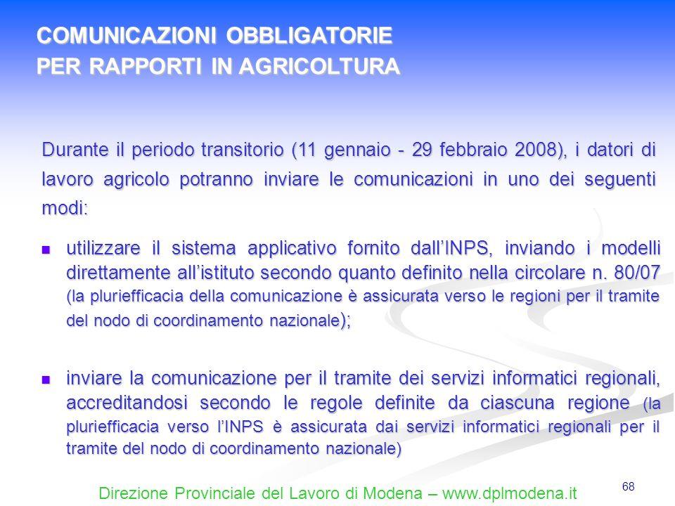 COMUNICAZIONI OBBLIGATORIE PER RAPPORTI IN AGRICOLTURA