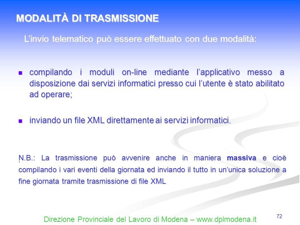 L'invio telematico può essere effettuato con due modalità: