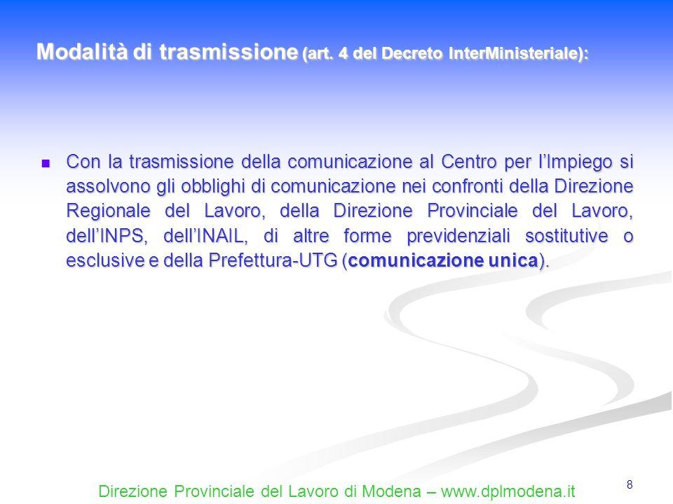 Modalità di trasmissione (art. 4 del Decreto InterMinisteriale):