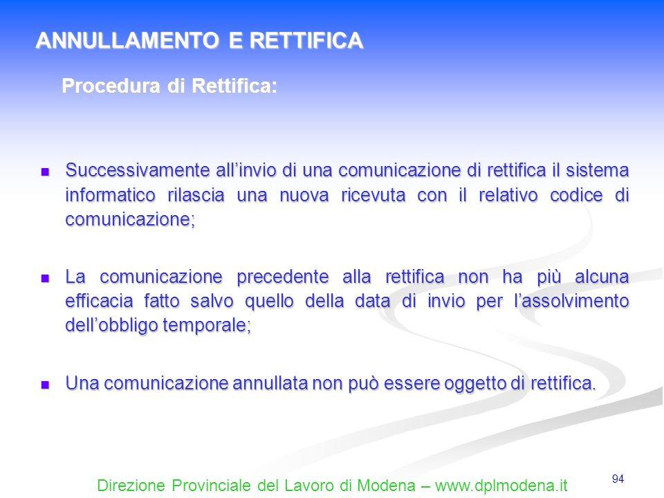 ANNULLAMENTO E RETTIFICA