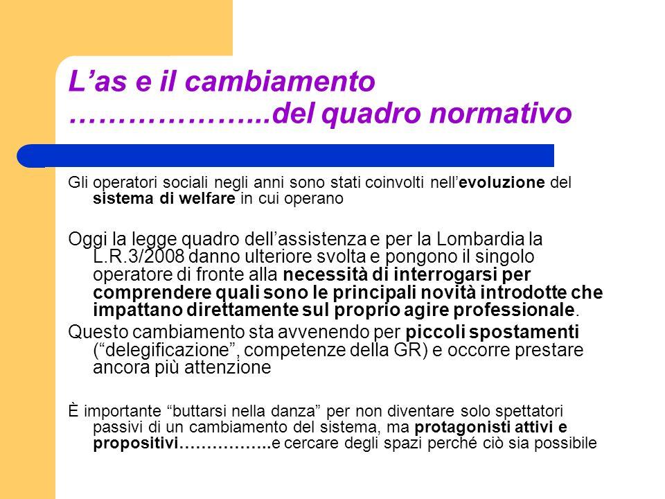 L'as e il cambiamento ………………...del quadro normativo