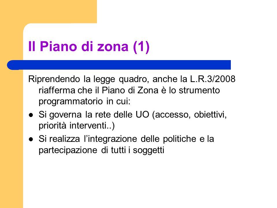Il Piano di zona (1) Riprendendo la legge quadro, anche la L.R.3/2008 riafferma che il Piano di Zona è lo strumento programmatorio in cui: