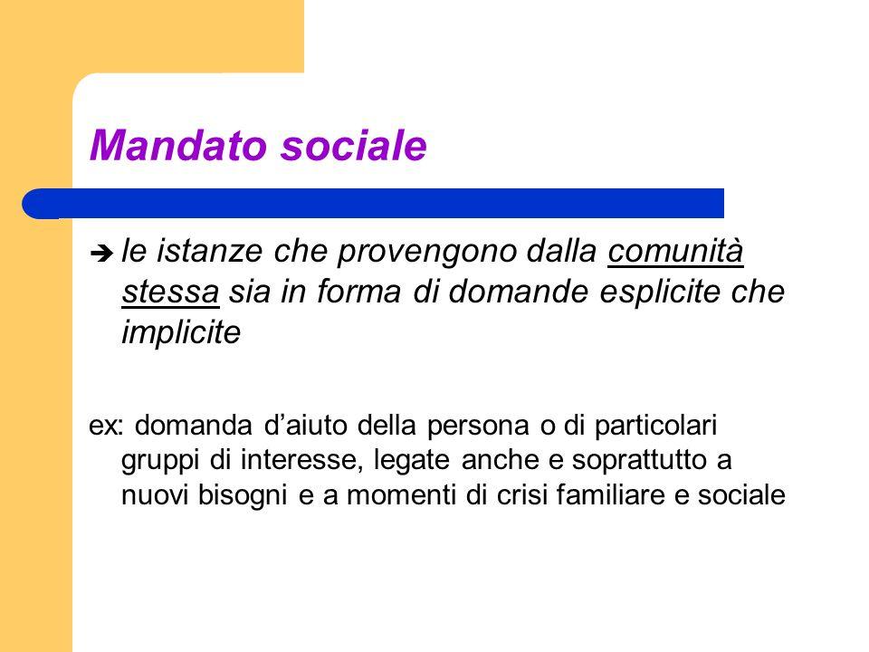 Mandato socialele istanze che provengono dalla comunità stessa sia in forma di domande esplicite che implicite.