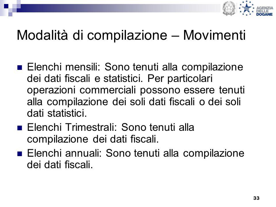 Modalità di compilazione – Movimenti