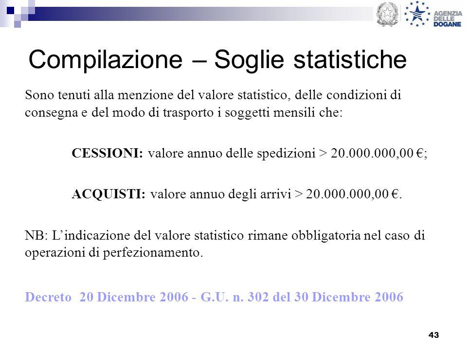 Compilazione – Soglie statistiche