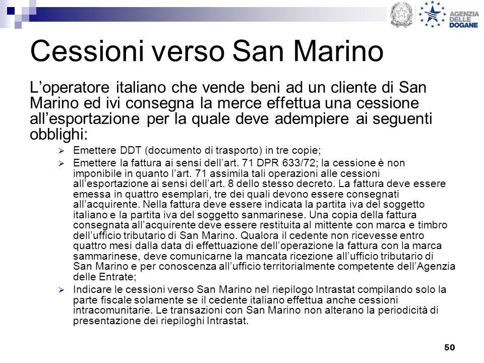 Cessioni verso San Marino