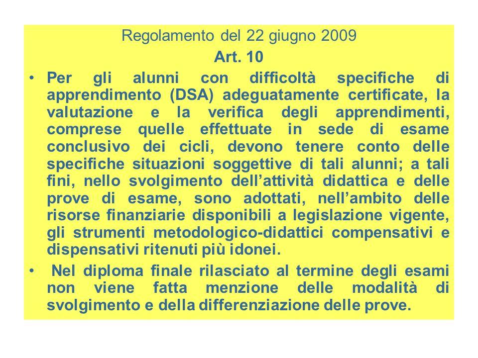 Regolamento del 22 giugno 2009