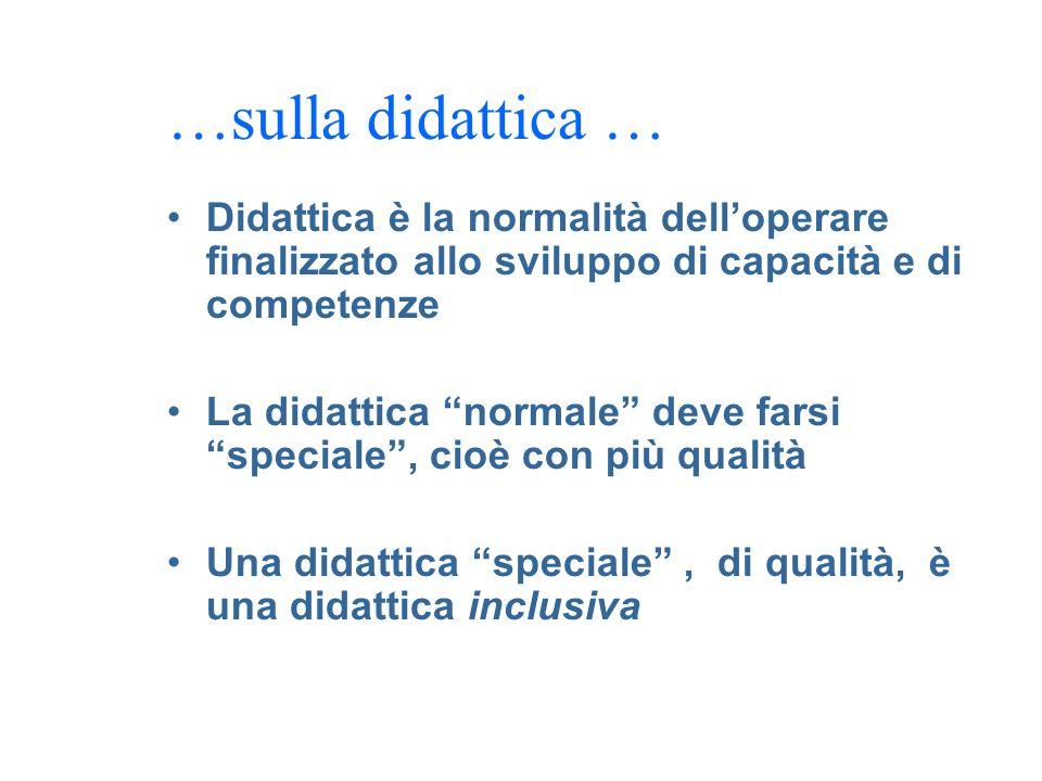 …sulla didattica … Didattica è la normalità dell'operare finalizzato allo sviluppo di capacità e di competenze.
