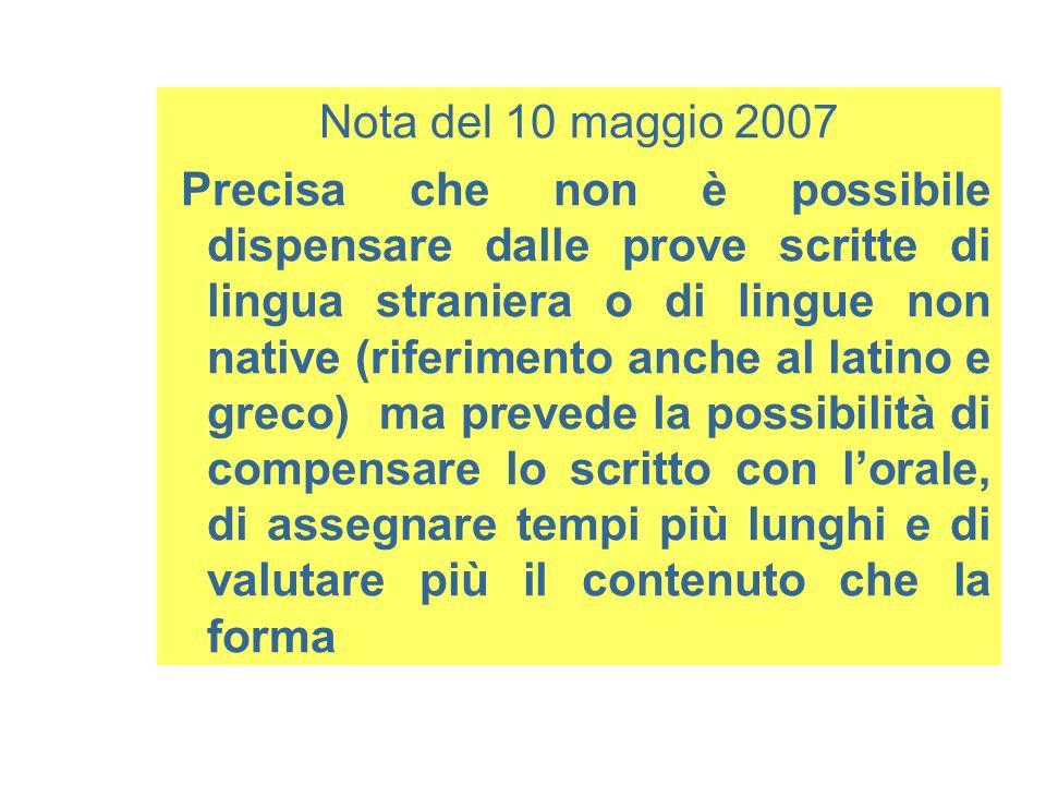 Nota del 10 maggio 2007