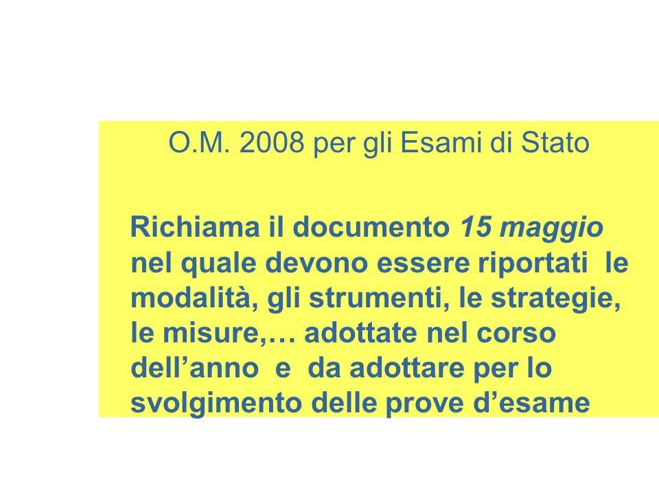 O.M. 2008 per gli Esami di Stato