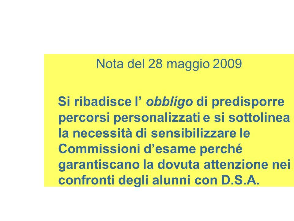 Nota del 28 maggio 2009