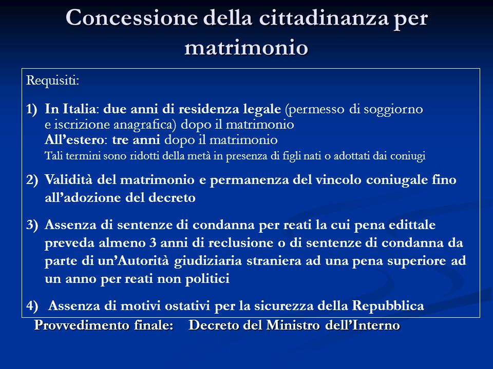 La cittadinanza italiana ppt video online scaricare for Permesso di soggiorno dopo matrimonio