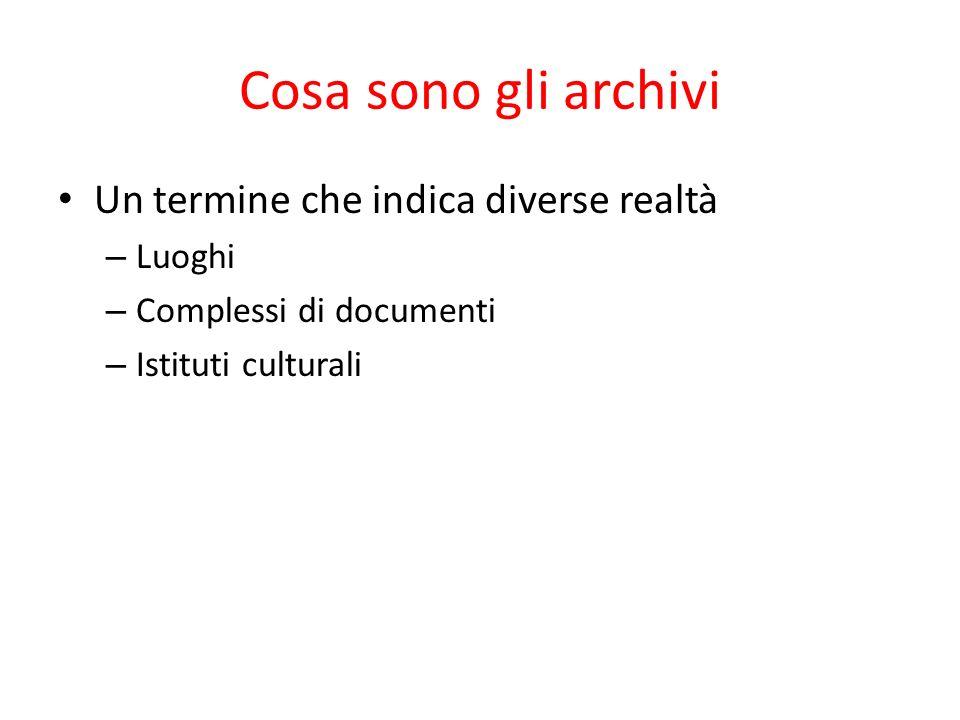 Cosa sono gli archivi Un termine che indica diverse realtà Luoghi
