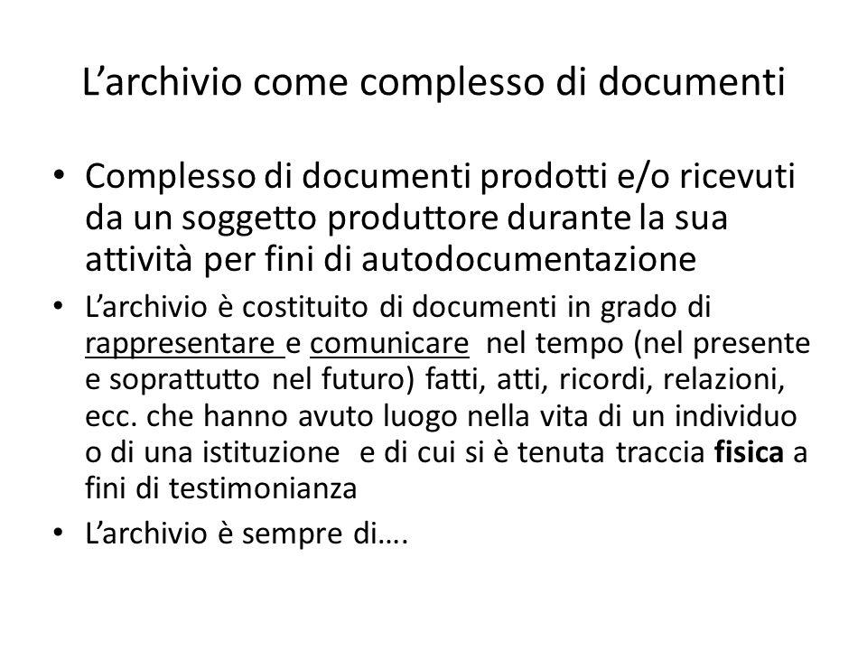 L'archivio come complesso di documenti