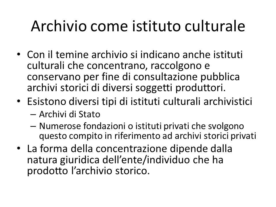 Archivio come istituto culturale