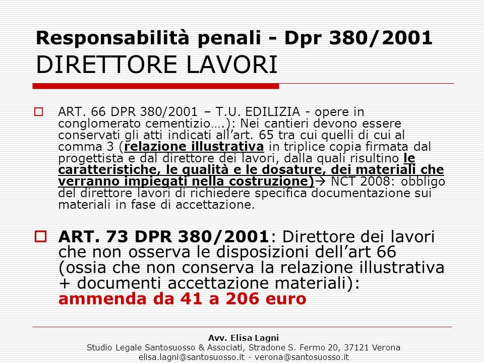 Responsabilità penali - Dpr 380/2001 DIRETTORE LAVORI