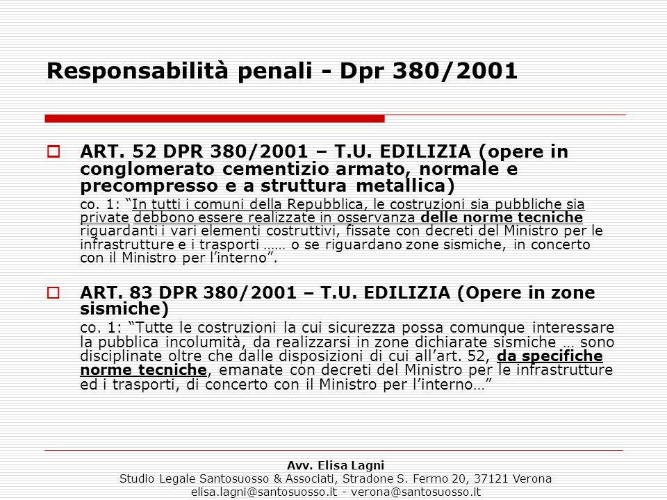 Responsabilità penali - Dpr 380/2001