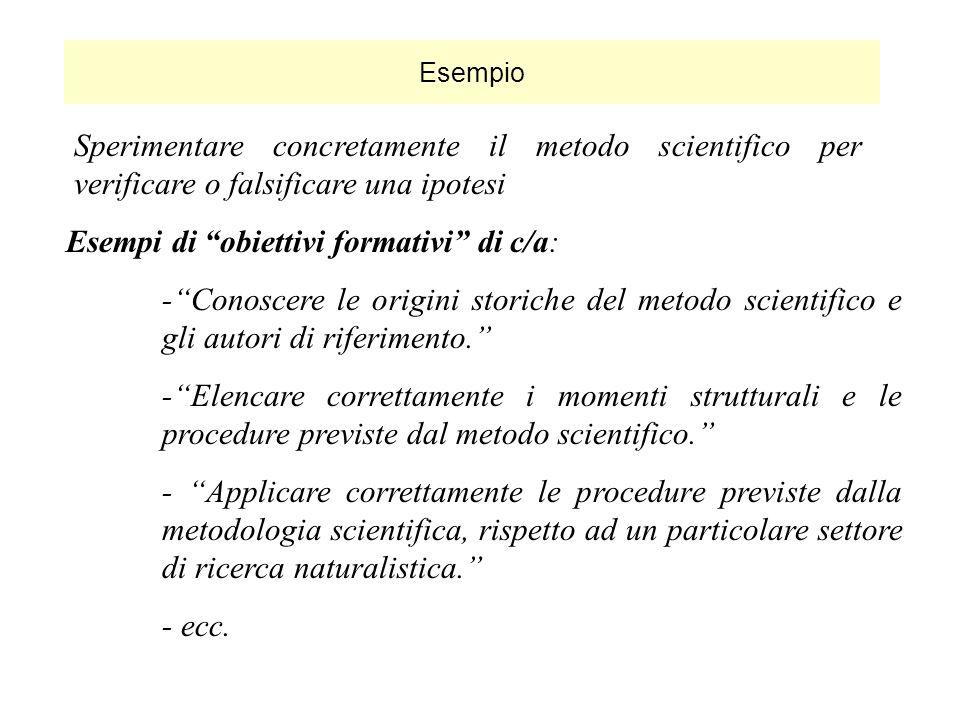 Esempi di obiettivi formativi di c/a: