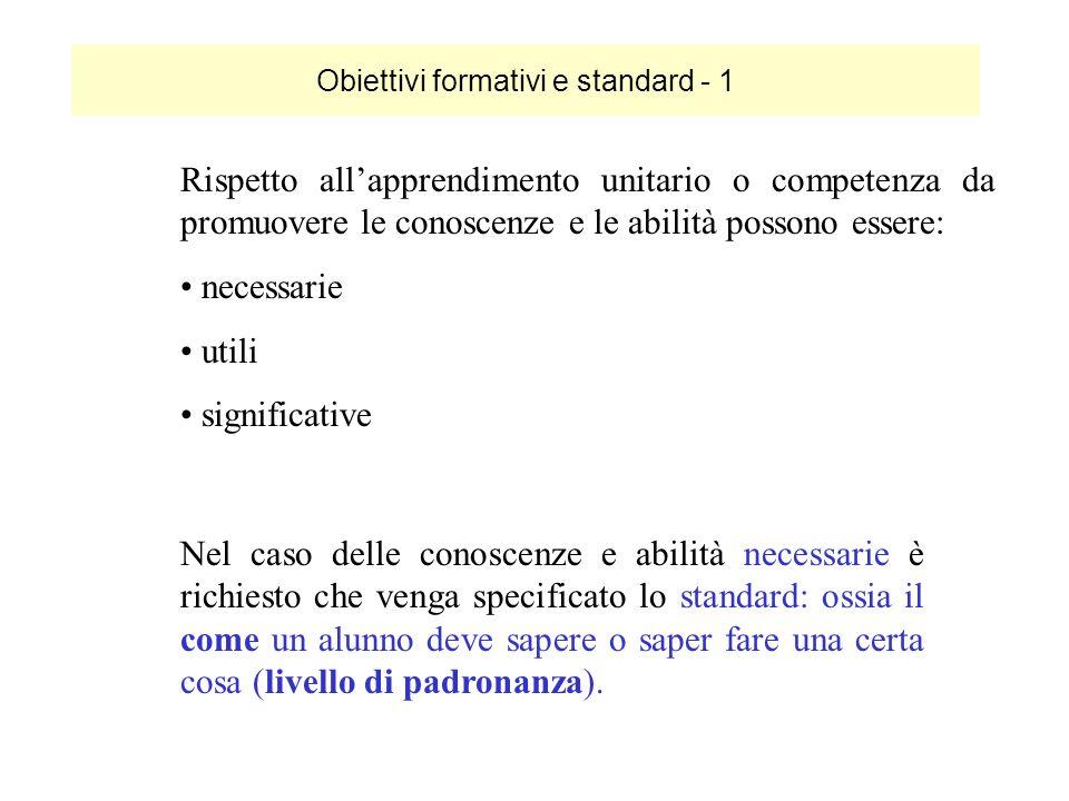 Obiettivi formativi e standard - 1