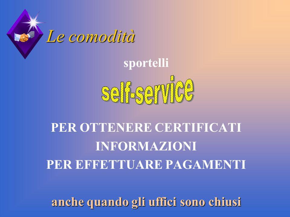 Le comodità self-service sportelli PER OTTENERE CERTIFICATI