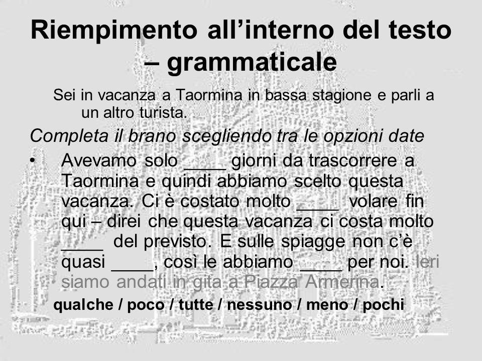 Riempimento all'interno del testo – grammaticale