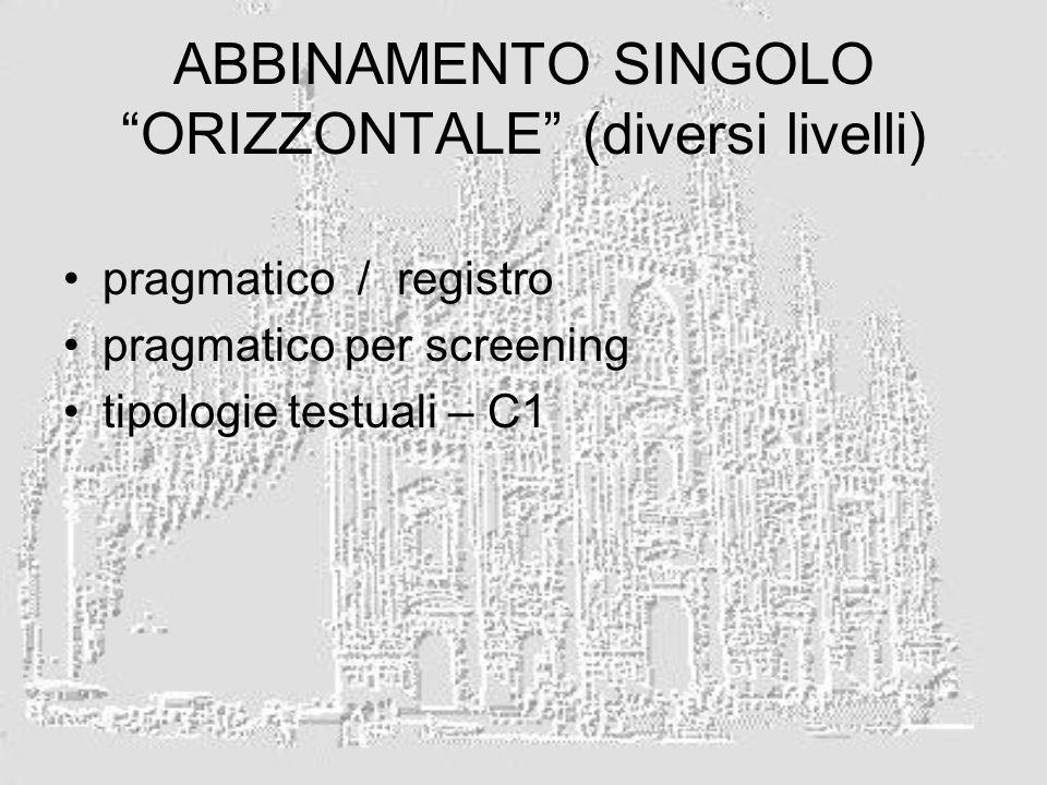 ABBINAMENTO SINGOLO ORIZZONTALE (diversi livelli)