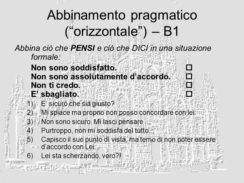 Abbinamento pragmatico ( orizzontale ) – B1