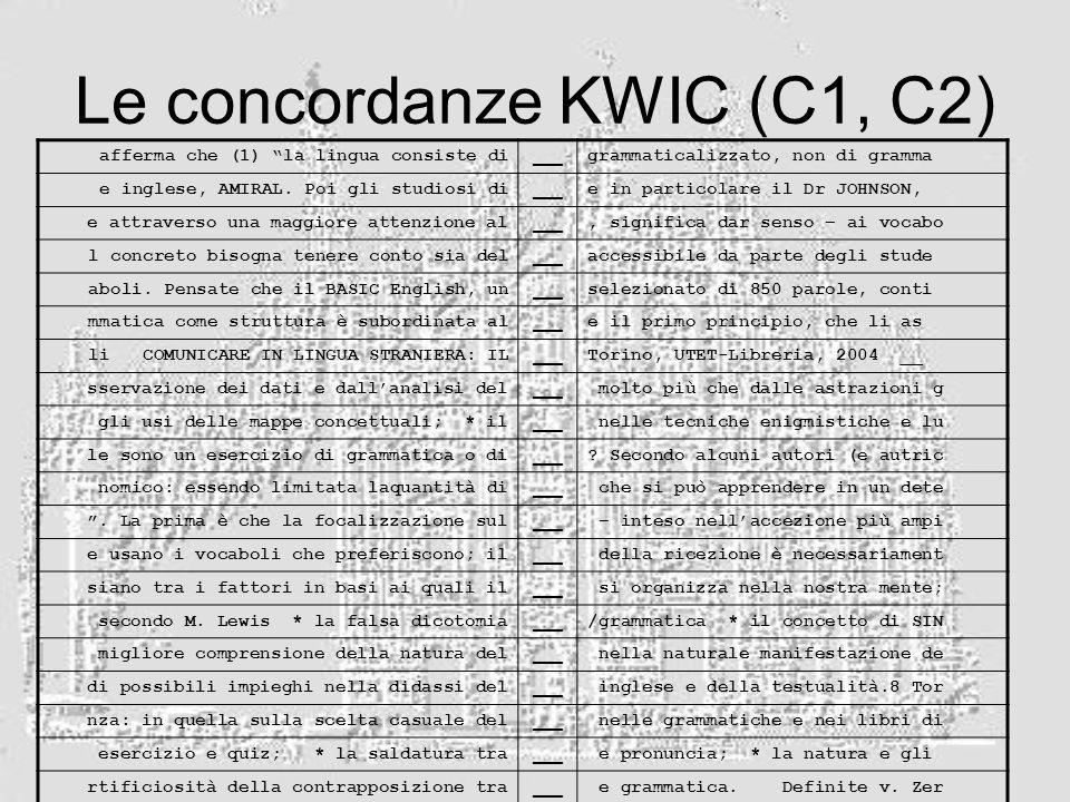 Le concordanze KWIC (C1, C2)