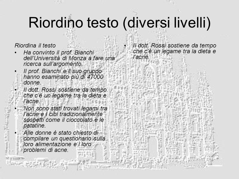 Riordino testo (diversi livelli)