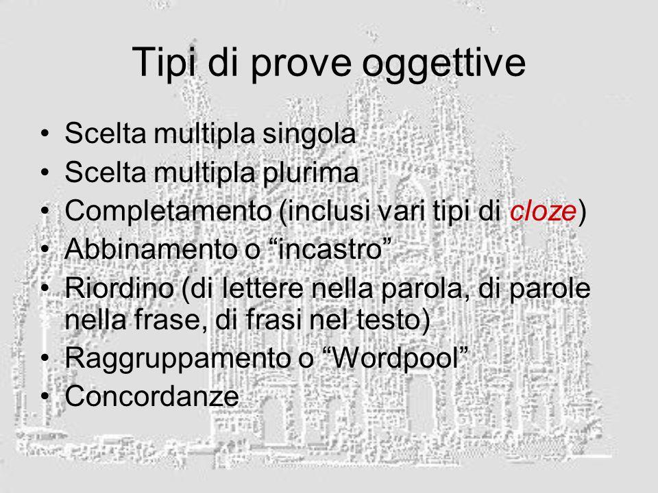 Tipi di prove oggettive