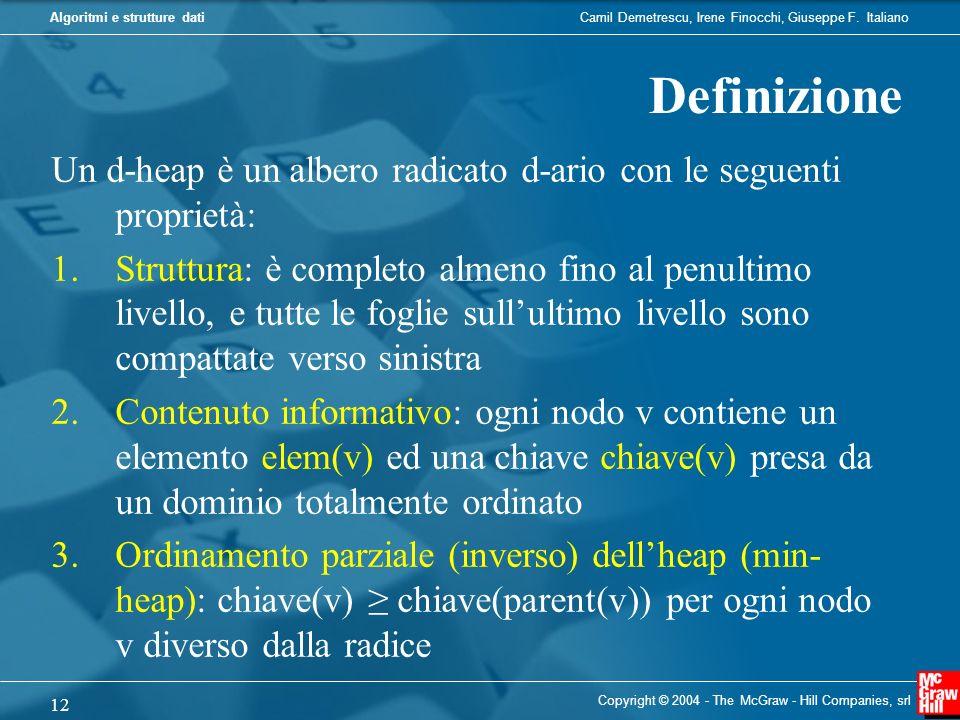 Definizione Un d-heap è un albero radicato d-ario con le seguenti proprietà: