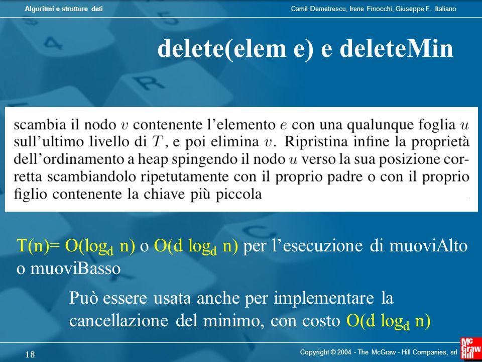 delete(elem e) e deleteMin