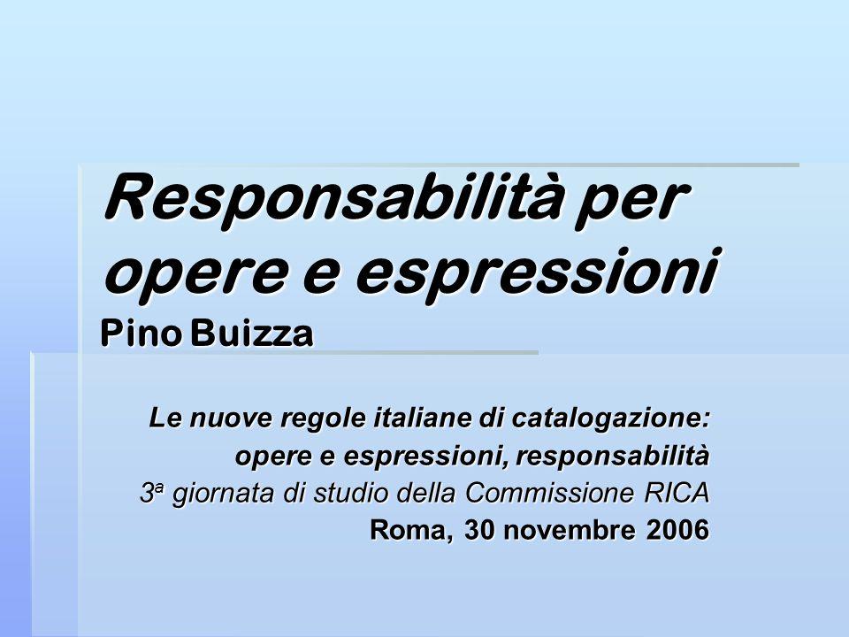 Responsabilità per opere e espressioni Pino Buizza